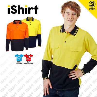 3 X Hi Vis Polo Shirt 100% Cotton Work Shirt Two Pockets Safety Workwear L/S