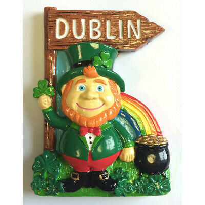Resin Magnet With Ireland Leprechaun With Rainbow, Pot Of Gold And Dublin Sign