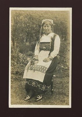 Norway Lady in traditional costume dress fashion c1910/20s? RP PPC