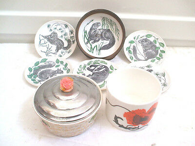 """Wade Ornate Hand Painted Pot & Lid 4.5""""D With Wedgwood Cornpoppy Pot & Plate Set"""
