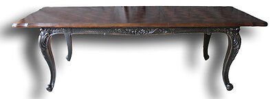 """French Handcarved Distressed Black Extension Dining Table 102"""" with leaves   BG"""