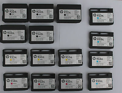 15 x GENUINE HP EMPTY INK CARTRIDGES! ~ 932XXL /  933 VARIOUS COLOURS