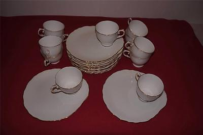 TUSCAN BONE CHINA CUP & PLATE SNACK SET, SERVICE FOR 11 FROM ENGLAND
