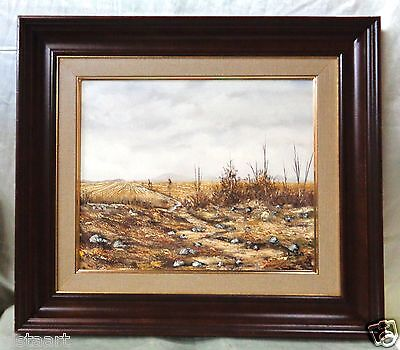 """Signed Oil Painting on Canvas """"Deserted Field"""" w/ Beautiful Vintage Frame 22x26"""""""