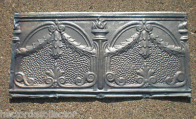 SALE Antique Victorian Gothic Ceiling Tin Tile Torches Holly Swag Chic Fleur De
