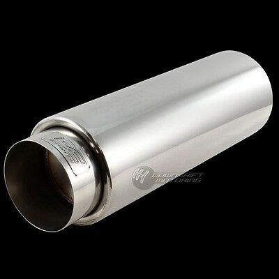 """DC SPORTS 4"""" Outlet Round STAINLESS STEEL EXHAUST PERFORMANCE MUFFLER 2"""" Inlet"""