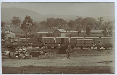 C1910 Rp Npu Postcard Sar Goods Trucks Railyards Quorn Sa L25