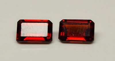 Natural Red Garnet 8x6mm Faceted Cut Octagon 2 Pieces Loose Gemstone
