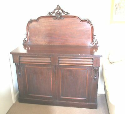 "Victorian Mahogany Chiffonier With Carved Back 2 Drawers & Wine Holder Box 48""W"