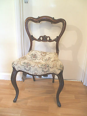 """Victorian Carved Walnut Frame Bedroom Chair With Upholstered Seat 32""""H 19""""W"""