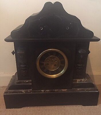 "Victorian French Striking Mantle Clock In Architectural Form Marble Case 19""High"