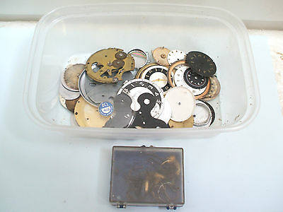Tray Of Various Clock & Watch Faces & Movement Parts For Spares