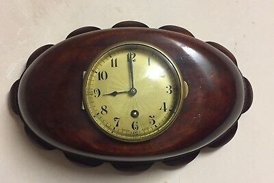 "Swiss Buren Movement Propeller Boss Wood Case Timepiece Wall Clock 6""H 10""W"