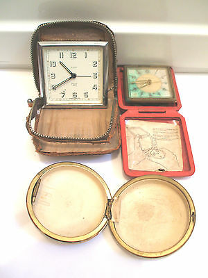 Smiths & Ingersoll Travelling Winding Movement Clocks With Case For Spares