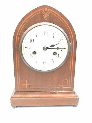 "Gustav Becker German Inlaid Mahogany Lancet Shape Striking  Clock 12""H"
