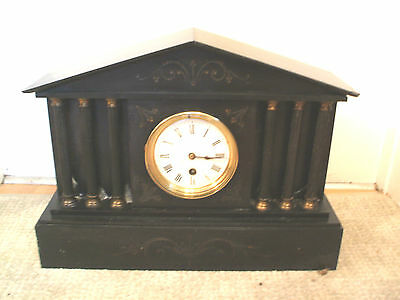 "Victorian French Marble Case With Columns Timepiece Mantle Clock 12""H 16.5""W"