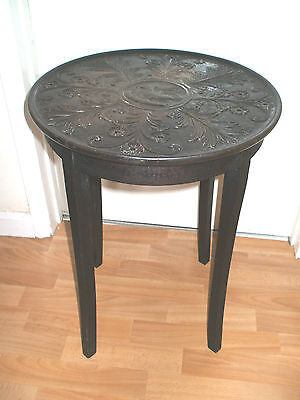 "Oak 4 Leg Circular Top Occasional Table With Carved Decoration 24""H 18""D"