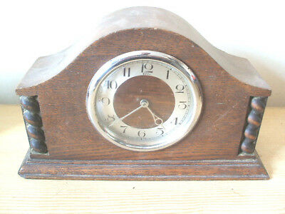 "Oak Case Mantle Clock For Spare/Repair 6""H 9.5""W"