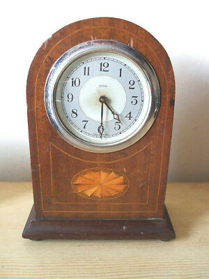 "Mahogany Inlaid Case Mantle Clock Spares/Repair 8.5""H"