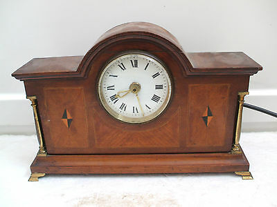 "Mahogany Inlaid Case Electric Movement Mantle Clock With Brass Columns 12""L 8""H"