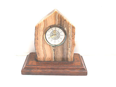"Marble/Stone Case Winding Movement Mantle Clock On Wood Base 7""H 7.5""W"