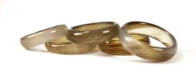 R+7675 Handcrafted 100% Natural Browns and Clear Agate unisex ring Sz 7