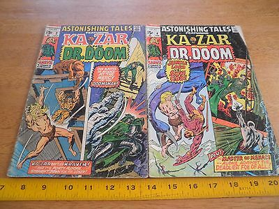 Astonishing Tales Dr. Doom comic book lot 2 4 Bronze Age 1970s VG- Ka-Zar