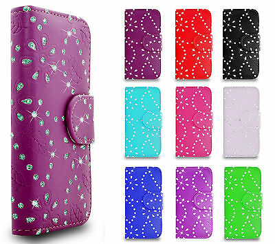 Bling Diamond Magnetic Book Flip PULeather Wallet Case Cover For Various Models