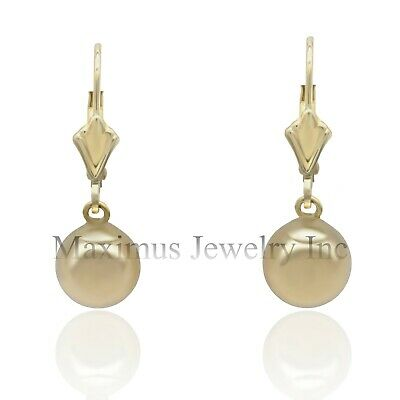 14K Yellow/White Gold Drop Dangle Plain Polished Ball Lever Back Earrings Jewellery & Watches