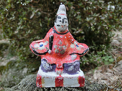 Japanese antique clay hanamaki doll emperor face re-written beautiful #a8 花巻人形