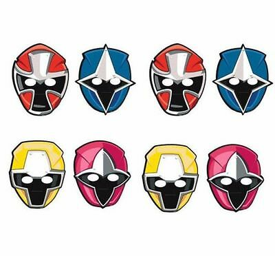 Power Rangers Dino Charge Paper Masks Birthday Party Supplies 8 ct, Party Favors