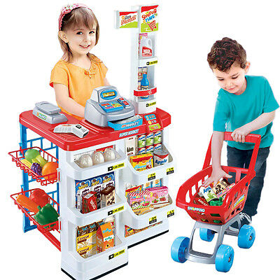 Kids Grocery Supermarket Shopping Basket with Trolley Pretend Play Toy Set