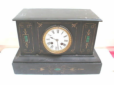 "Japy Freres Victorian French Marble Case Striking Mantle Clock 9""H 14""W 6.5""D"