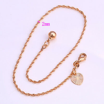 """9K 9ct Yellow """"Gold FILLED"""" Water Wave ANKLE CHAIN """"Bell ANKLET. 10.6"""" Gift"""