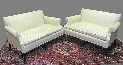 Pair-Queen Anne Styled Settees On Finely Formed Stretcher Bases & Pad Feet