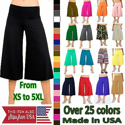 Glam Attack Capri Gaucho Palazzo Pants Wide Leg Low Waist Flowy Comfy Culottes