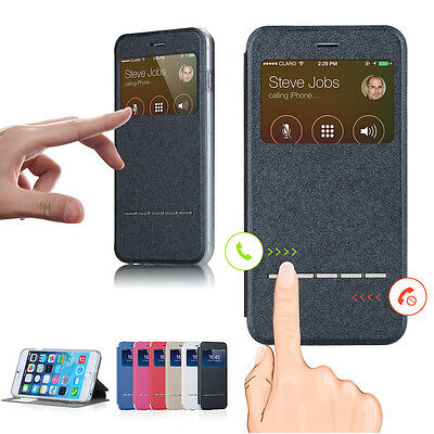 Smart Front Window View Flip PU Leather Case Cover For Samsung S3 S4 S5 Note3 4