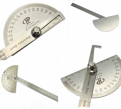 Stainless Steel 180° Rotary Protractor Round Head Angle Rule Finder Arm Ruler UK