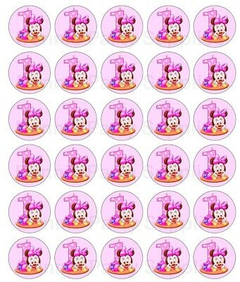 30 Baby girl first 1st birthday Minnie Mouse edible wafer cupcake cake toppers