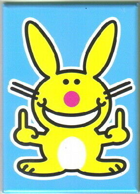 Happy Bunny Figure Giving a Double Bird Refrigerator Magnet, NEW UNUSED