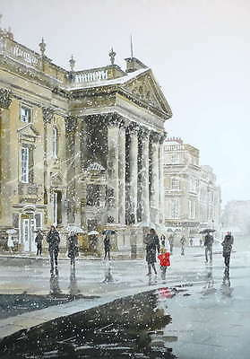 "ORIGINAL ALAN REED WATERCOLOUR ""Theatre Royal in the Snow"" Newcastle PAINTING"