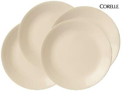 """4 Corelle 8 1/2"""" SANDSTONE Coupe LUNCH PLATES Luncheon Earthy Beige Tan *NEW"""