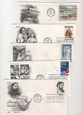 US FDC 1972 Year Set 32 First Day Covers All Artcraft Cacheted Unaddressed  
