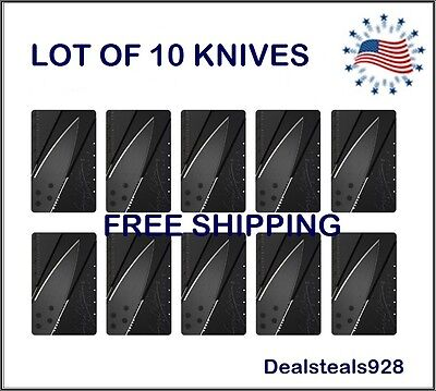 Lot of 10 Credit Card Knive Pocket wallet Micro knife Survival Steel Blade Tool