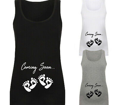Twins Coming Soon Baby Feet Cute Designer Maternity Vest Tank Top Baby Shower