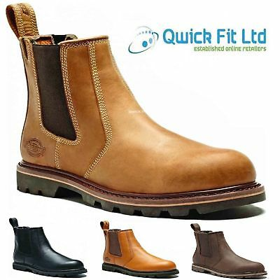 Mens Dickies Fife Leather Safety Toe Cap Work Dealer Chelsea Boots Trainer Size