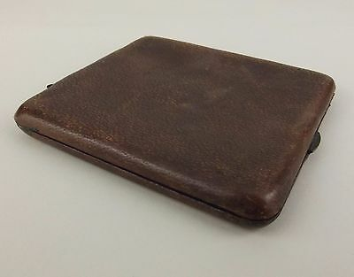 Vintage Leather Wallet Card Holder Case Germany Hinged Clasp