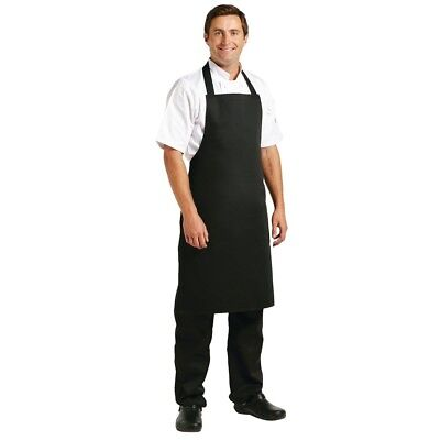 Whites Chefs Apparel Bib Apron Black Polycotton Catering Reastaurant Kitchenwear
