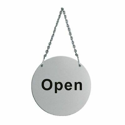 Open & Closed - Stainless Steel Double Sided Door Sign With Chain - 130mm