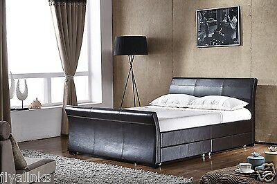 Reno 4 Drawers Faux Leather Storage Sleigh Beds Double King Size+Memory Mattress